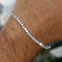 11ct VVS White Round Cut Diamond 1 Raw Men's Tennis Bracelet 14k White Gold Fn