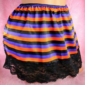 VTG Budoir Mini SHINY LACY SATIN Black Striped Sissy Half Slip Skirt L XL