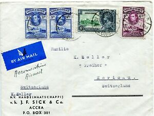 1935 Silver Jubilee Gold Coast 6d with GVI 3d x2 and 6d on 1938 Air Cover