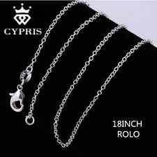 "Womens 925 Sterling Silver 1mm cross clasp 18"" Chain Necklace Fashion Jewelry"