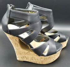 Yoki Womens Black Cork High Heel Wedge Zip Back Size 7 Shoes Bessie 29
