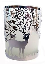 FROSTED GLASS T-LIGHT HOLDER WITH SILVER DEER AND OAK TREE