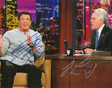 SYLVESTER STALLONE + JAY LENO SIGNED 8X10 PHOTO W/ PROOF TONIGHT SHOW ROCKY