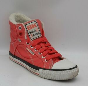 Womens (BK) British Knights Size 4UK Pink Fur Lined HiTop Trainers Laced In EUC