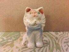 "Vintage China Porcelain White Cat W/ Bow Figurine Made Japan 3"""