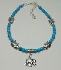 Turquoise 4mm Gemstone Beaded Lucky Elephant Charm Anklet Ankle Bracelet Boho