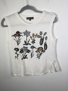 Markus Lupfer designer womens white embellished floral sleeveless tank top sz S