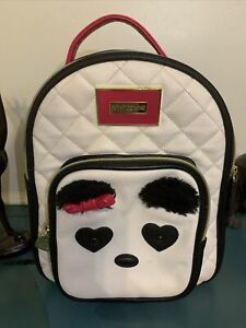 Betsey Johnson Backpack Medium with Panda face pouch furry brows