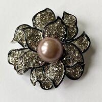 Sparkling Rhinestone Flower Brooch Pin Purple Faux Pearl Black Silver Tone