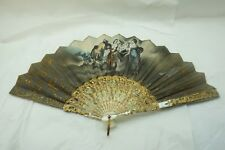 ANTIQUE HAND FAN SILK HAND PAINTED ARTIST SIGNED CARVED MOTHER PEARL GILT