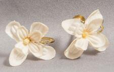 Vintage Screw On Clip On Cloth Flower Earrings Jewelry egm