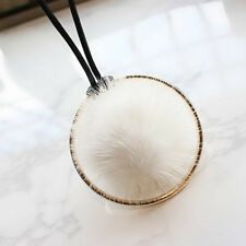 1pc Pompom Fur Ball Long Leather Sweater Chain Pendant Necklace Winter Jewelry White