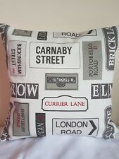 """16"""" NEW CUSHION COVER LONDON STREETS SIGNS ROADS INDUSTRIAL MODERN BEIGE BLACK"""