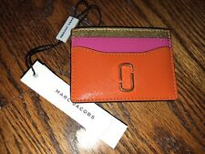 MARC JACOBS SNAPSHOT LEATHER CARD CASE HOLDER WALLET ORANGE PINK GOLD NWT NEW