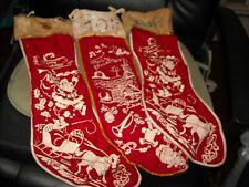 3 Antique Vintage Merry Christmas Stockings white red Santa horse sleigh bells