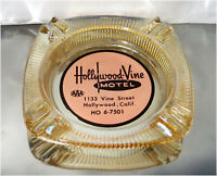Vintage 40's - 60's Hollywood-Vine Motel Glass Ashtray, 1133 Vine Street
