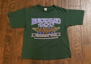 Vintage Brickyard 400 Inaugural Race T Shirt L green 1994 NASCAR single stitch