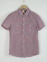 HUGO BOSS CASOE Men's LARGE Short Sleeve Shoulder Strap Check Shirt 25817_JS