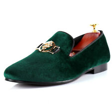 Green Sword Buckle Velvet Loafer Shoes Dress
