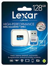 Lexar 128GB 128G 633x 95MB/s Micro SDXC MicroSD Class10 UHS-I + Card Reader