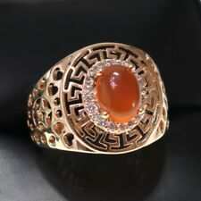 Carved Red Ruby Ring Wedding Hollow Jewelry Yellow Gold Plate Size 6 7 18K R6321