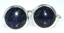 Round Blue Sunstone Cufflinks, Navy Sandstone Mens Cufflink 925 Sterling SILVER
