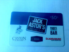 JACK ASTOR'S BAR AND GRILL Limited Edition Gift Card REDS No Value RECHARGEABLE