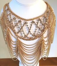 LUSH Statement Gold Crystal Glam Draped Cocktail Necklace Set By Rocks Boutique