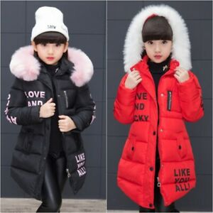 Winter Girls Thick Coat Kids Hooded Padded Thick Parka Long Fur  Warm Jacket SZ