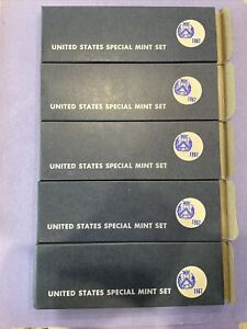 Lot Of 5 1967 US SMS Special Mint Set Coins  perfect Orig Boxes. Silver Kennedy!