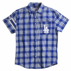 Los Angeles Dodgers Team Logo Mens Short Sleeve Wordmark Flannel Shirt New