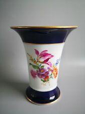 MEISSEN Vase kobaltblau mit Blumenbukett Goldrand Höhe 16,5cm 1.Wahl
