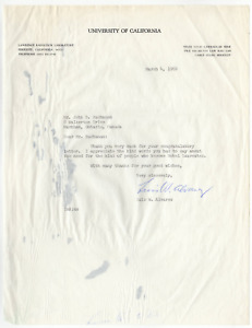 Luis Walter Alvarez signed autographed letter! RARE! Nobel Prize! JSA COA! 1357