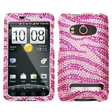 Pink Zebra Crystal Bling Hard Case Cover for HTC EVO 4G