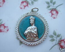 Catholic Medal Mary Our Lady LaSalette Large Blue Enamel Pendant