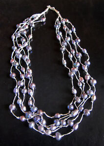 """GREY freshwater PEARL necklace, 4 strings, 20"""" hook fastening, new"""
