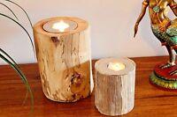 2er Set Teak Kerzenhalter Holz natur Massiv Teelicht Windlicht Deko Dekoration