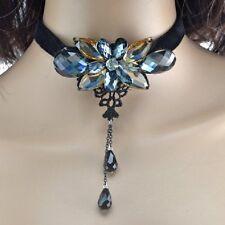 Terciopelo Collar Negro Cristal Flores gris azul champán Bocio De Banda Gótica