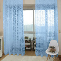 Voile Window Curtain Room Drape Door Divider Floral Scarf Sheer Scarf Valances