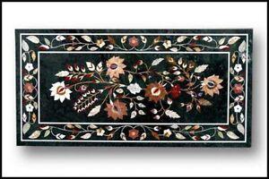 "48"" x 24"" Marble Center Table Top Pietra Dura Inlay Work Home Decor"