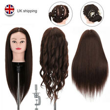 """22"""" 100% Real Human Hair Training Head DIY Hairdressing Mannequin Doll Clamp UK"""