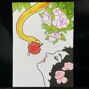 ACEO Original Serpent Medium Black Ink Marker on Paper Signed by Artist PH