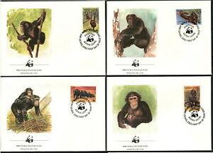 SIERRA LEONE - 1983 WWF 'CHIMPANZEE' Set of 4 First Day Covers [B6249]