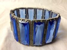Vintage Sterling Silver Faceted Blue Glass Marcasite Deco Bracelet Small Size!