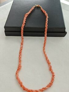 VINTAGE AUTHENTIC MEDITERRANEAN CORAL 3 STRANDS TWISTED  NECKLACE  LENGTH - 56