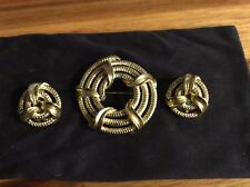 Vintage Signed Lisner Classic Goldtone Pin and Clip Earrings Set