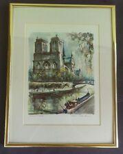 Marius Girard signed watercolor print Paris-Notre Dame
