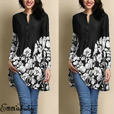 Fashion Women Loose Long Sleeve Casual Blouse Shirt Floral Printed Tops T-shirt