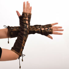 Women Medieval SCA Lace Up Long Hand Sleeves Gothic Brown Sleeves Cosplay
