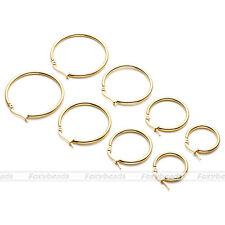 Women Ladies Stainless Steel Tube Dangle Ring Big Hoop Ear Circle Round Earrings